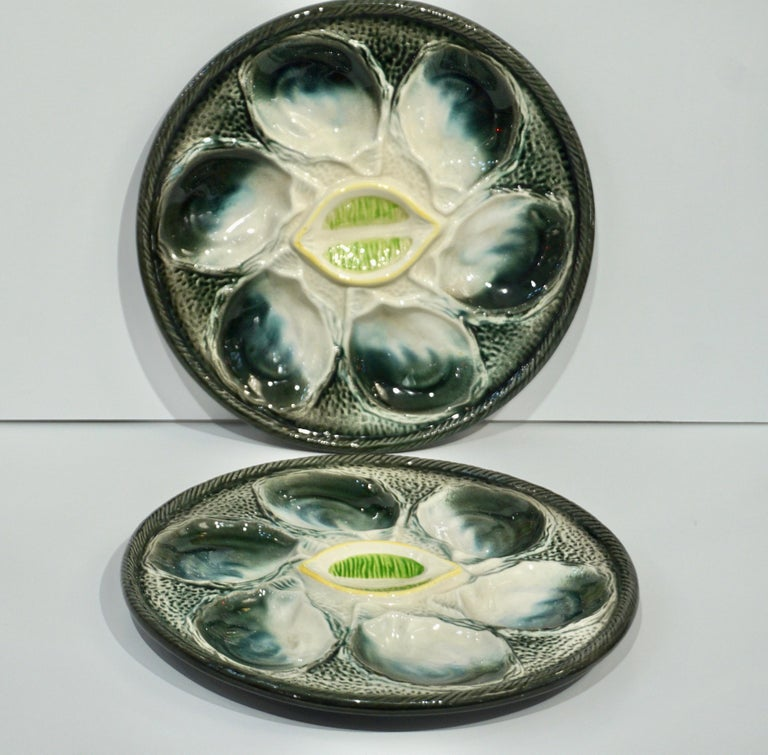 St Clement French Art Deco Majolica Set of 6 Oyster Plates and Serving Platter For Sale 9