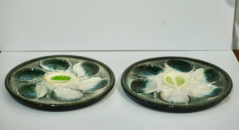 St Clement French Art Deco Majolica Set of 6 Oyster Plates and Serving Platter For Sale 10
