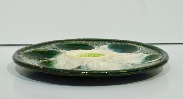 St Clement French Art Deco Majolica Set of 6 Oyster Plates and Serving Platter For Sale 11