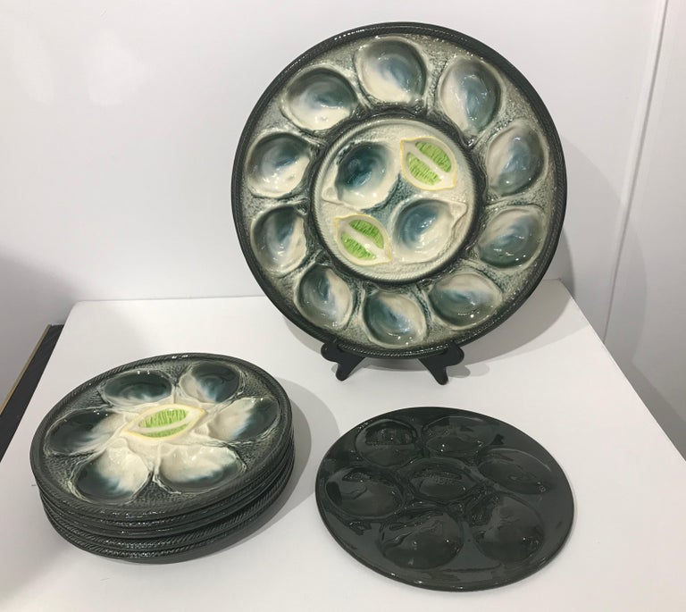 St Clement French Art Deco Majolica Set of 6 Oyster Plates and Serving Platter For Sale 12