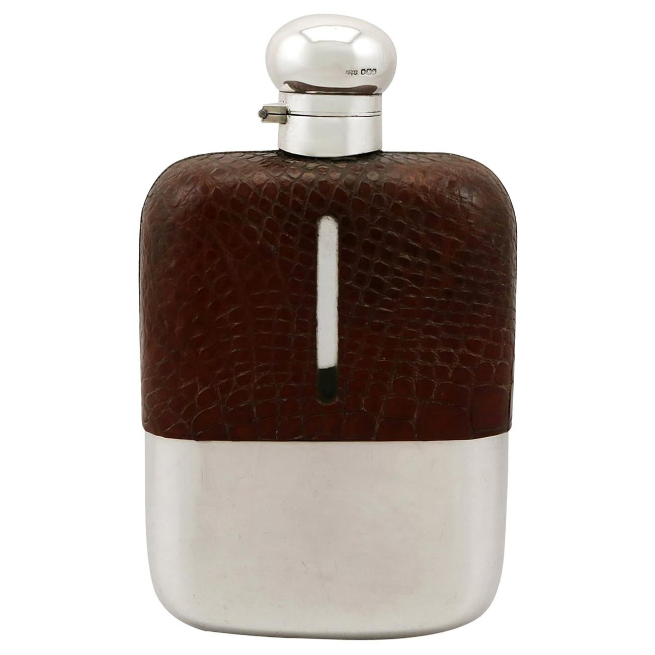 1920s Sterling Silver and Crocodile Skin Hip Flask