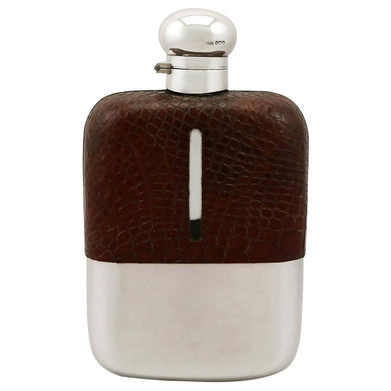 1920s Sterling Silver and Crocodile Skin Hip Flask For Sale