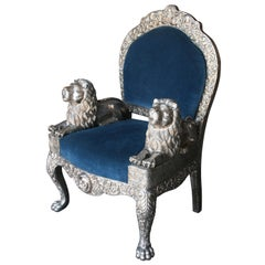 1920s Sterling Silver Custom Handcrafted Throne Type Chair from Varanasi