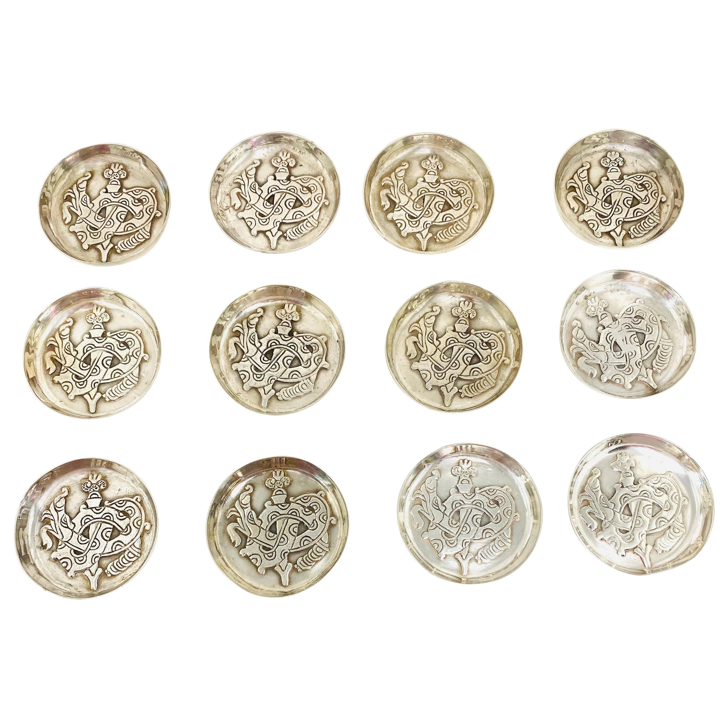 1920s Sterling Silver Decorative Mini Dishes Set of 12