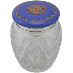 1920s Sterling Silver, Cut-Glass and Enamel Biscuit Barrel