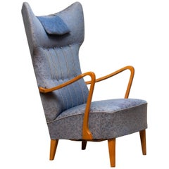 1920s, Swedish Art Nouveau High-Wingback Chair in Oak with Extra High Backrest F