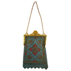 1920's Teal and Coral Mandalian MFG  Painted Flat Mesh Purse