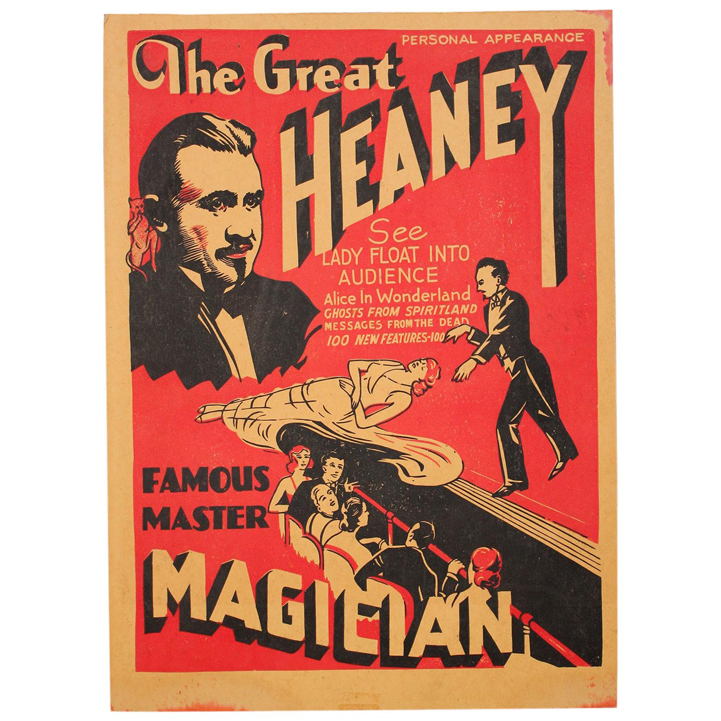 """1920s """"The Great Heaney"""" Magician Magic Oddity Advertising Poster Window Card"""