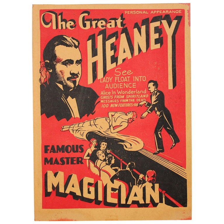 """1920s """"The Great Heaney"""" Magician Magic Oddity Advertising Poster Window Card For Sale"""