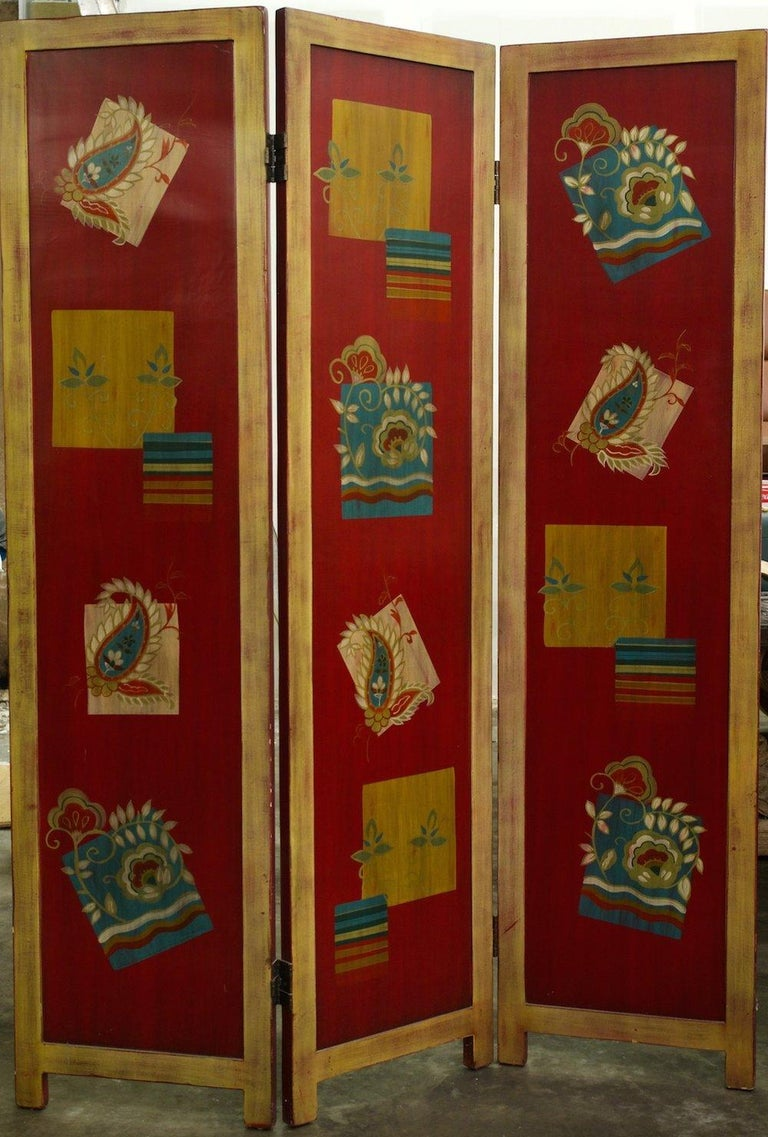 Vienna Werkstatte style screen, circa 1920, in gold and silver leaf with red lacquer background and multi-colored decoration. Double-sided with differing treatments on each side. Each panel 18