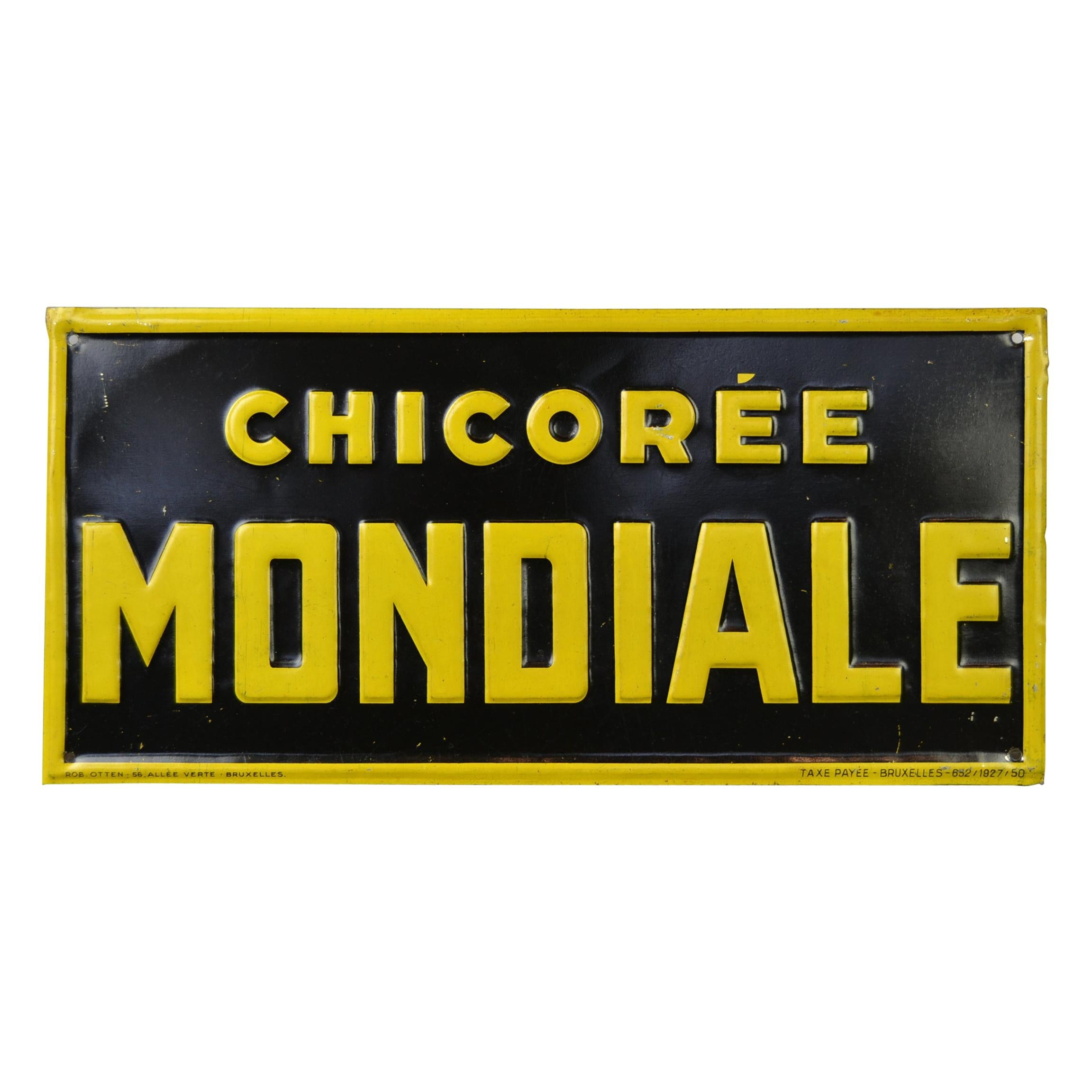 1920s Tin Advertising Sign for Chicorée Mondiale by Rob Otten, Belgium