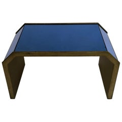 1920s-1950s Blue Mirrored Side Table with Giltwood Surround, UK