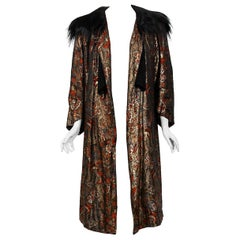1920's Trevl Haute-Couture Metallic Feather Print Lamé & Monkey Fur Flapper Coat