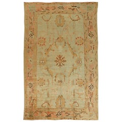1920s Turkish Oushak Brown, Beige and Salmon Pink Handmade Wool Rug