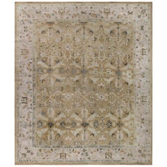 1920s Turkish Oushak Handmade Wool Rug in Gray, Light Beige and Brown