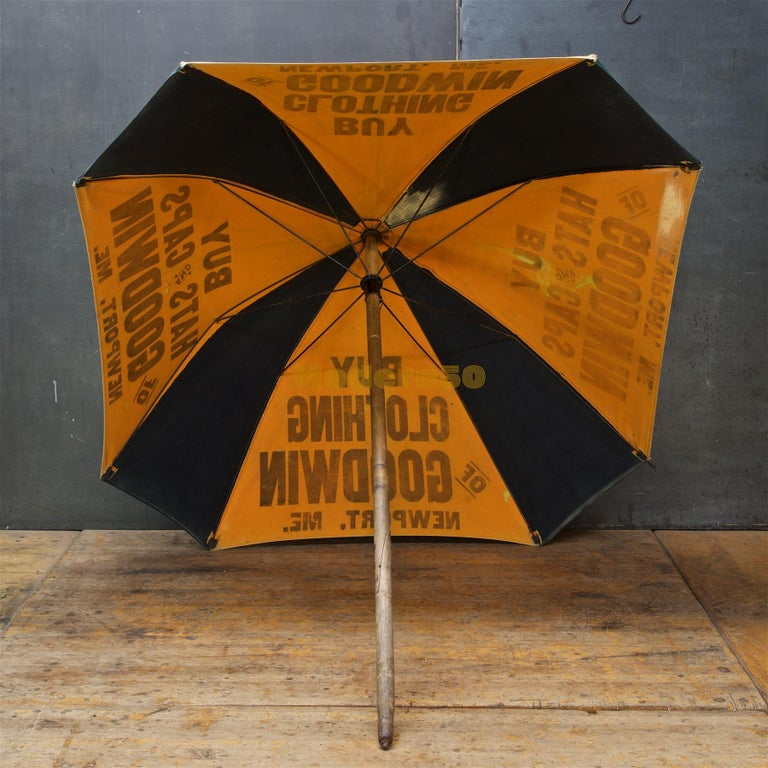 Industrial 1920s Umbrella Parasol Advertising Mercantile Graphic Design Newport Beach Patio For Sale