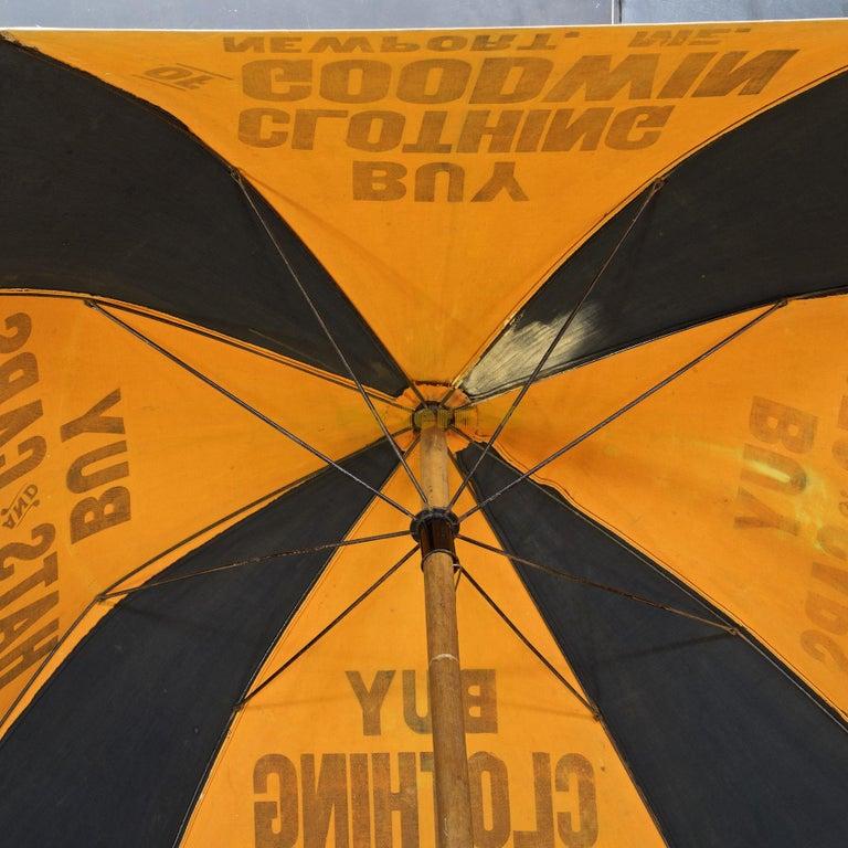 Hand-Crafted 1920s Umbrella Parasol Advertising Mercantile Graphic Design Newport Beach Patio For Sale