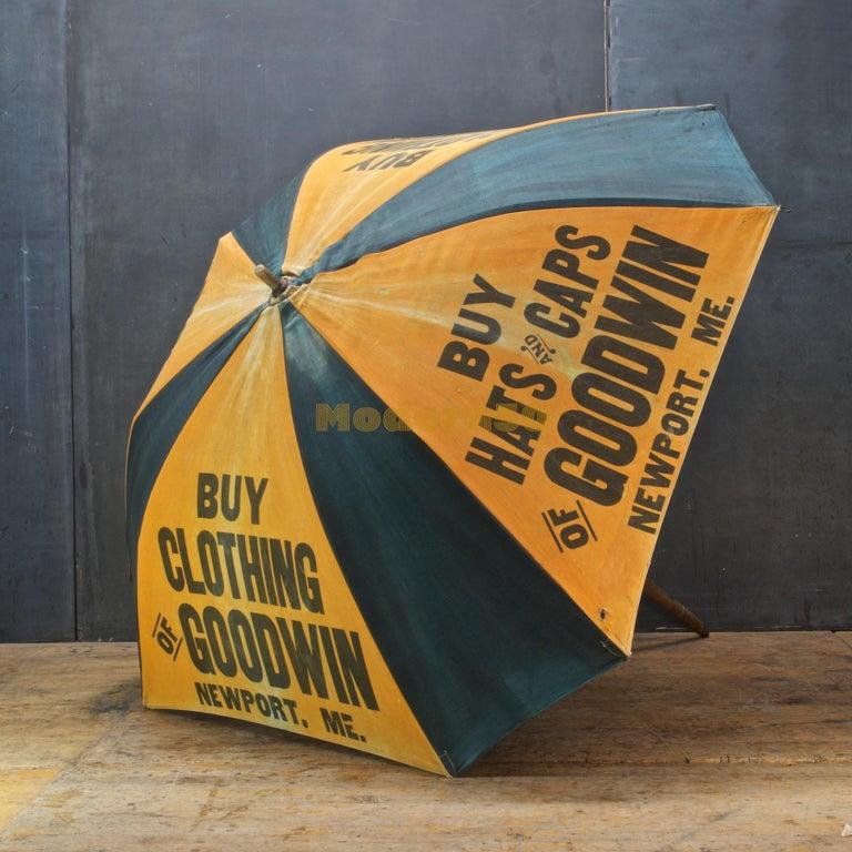 1920s Umbrella Parasol Advertising Mercantile Graphic Design Newport Beach Patio In Distressed Condition For Sale In Washington, DC