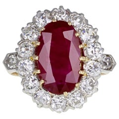 1920s Unheated and Certificated Burma Ruby and Diamond Oval Cluster Ring