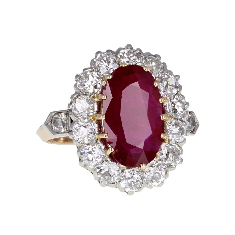 Victorian Classic  Unheated Burma Ruby Diamond Oval Cluster Ring For Sale