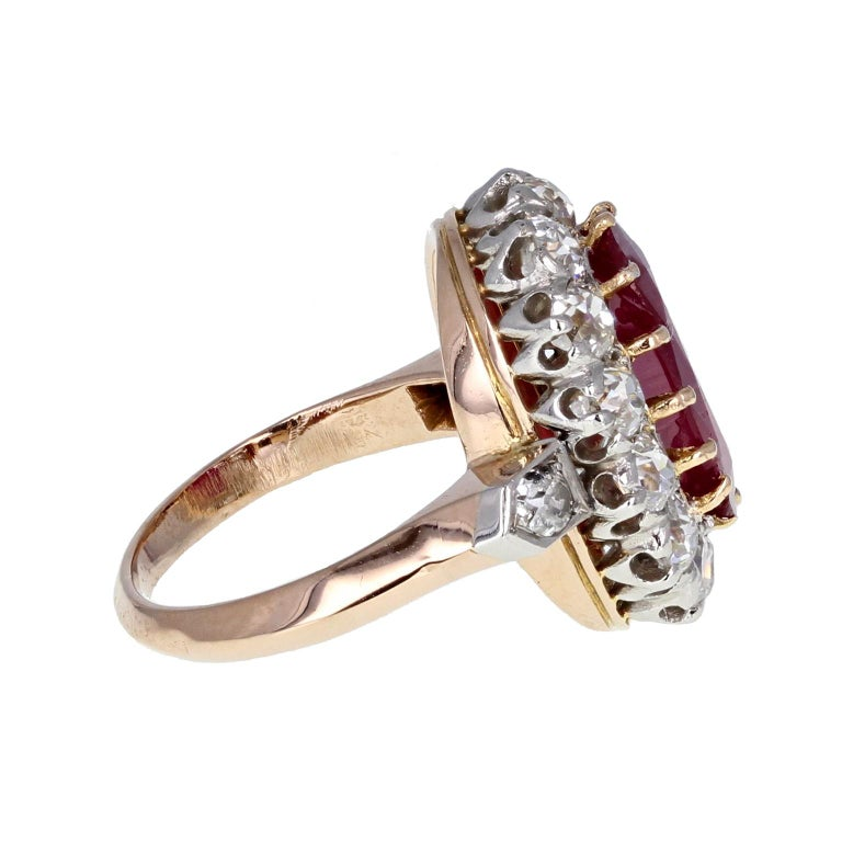 Oval Cut Classic  Unheated Burma Ruby Diamond Oval Cluster Ring For Sale