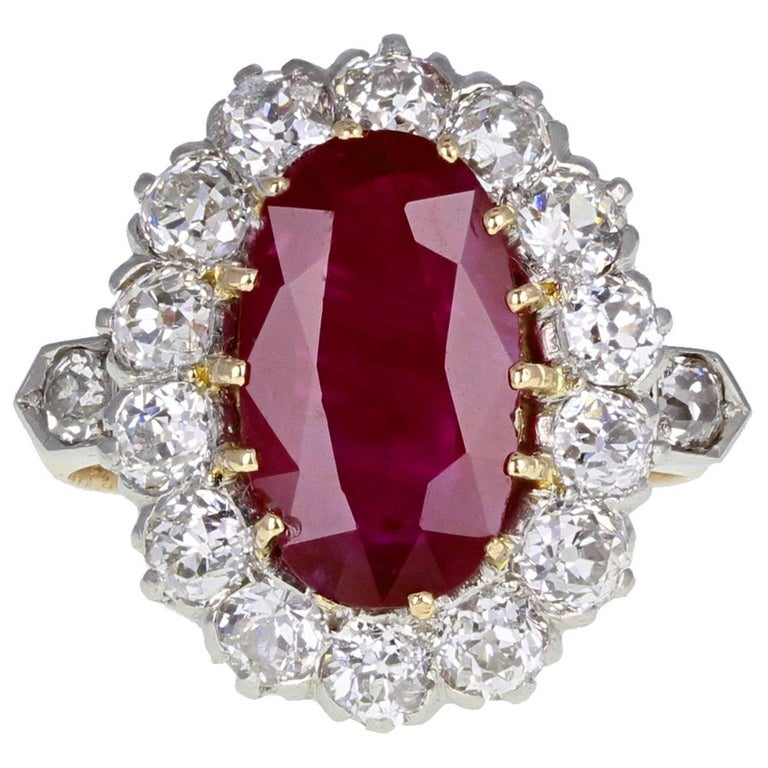 Classic  Unheated Burma Ruby Diamond Oval Cluster Ring For Sale