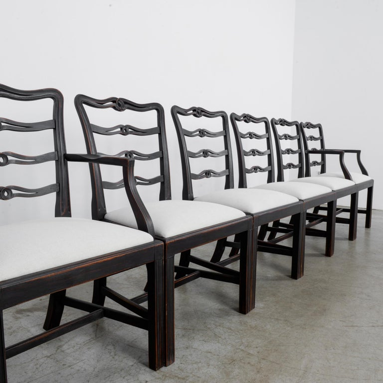 1920s Upholstered Dining Chairs, Set of Six 6