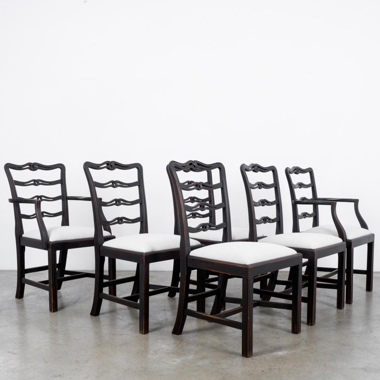 Arts and Crafts 1920s Upholstered Dining Chairs, Set of Six