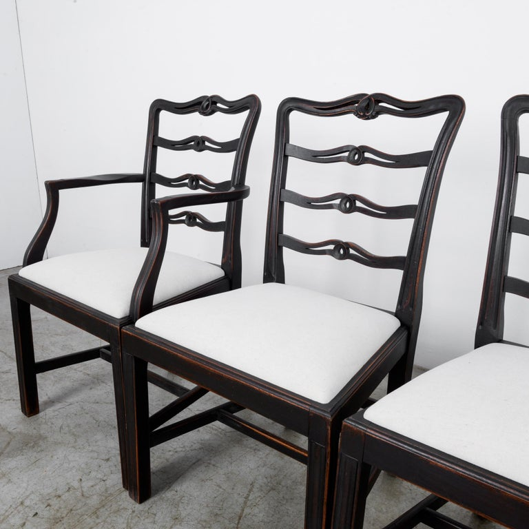 Fabric 1920s Upholstered Dining Chairs, Set of Six
