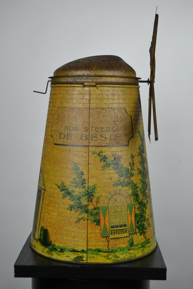 1920s Van Melle's Toffees Tin - Antique Candy Box Holland - Dutch Windmill  For Sale 5