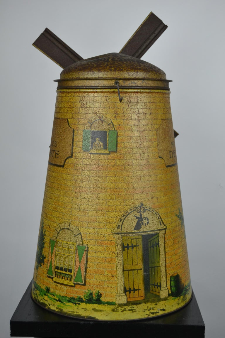 1920s Van Melle's Toffees Tin - Antique Candy Box Holland - Dutch Windmill  For Sale 3