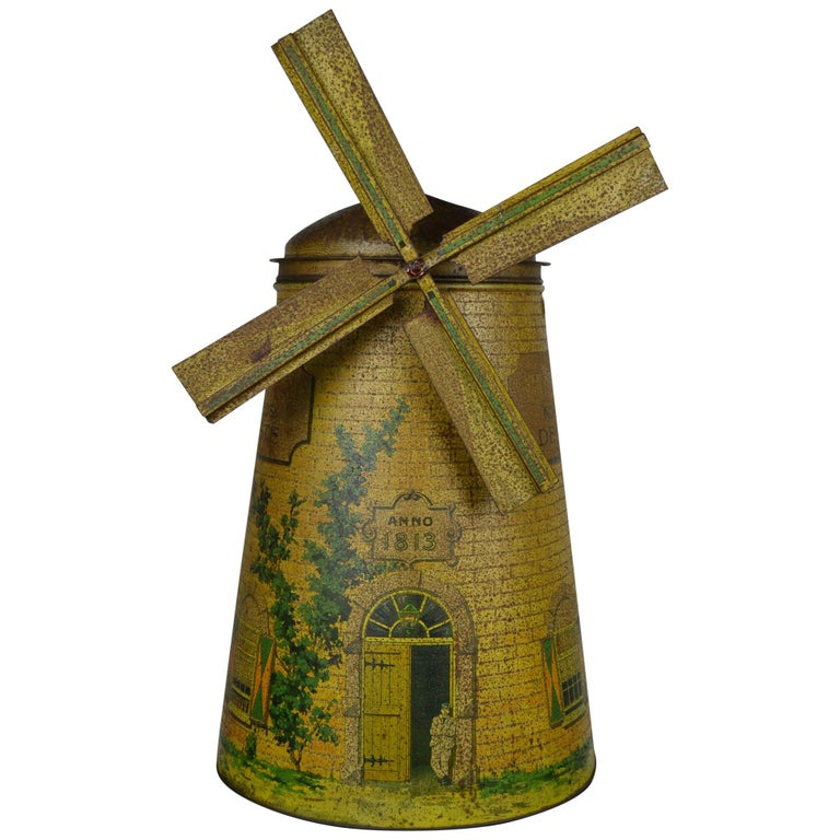 1920s Van Melle's Toffees Tin - Antique Candy Box Holland - Dutch Windmill  For Sale