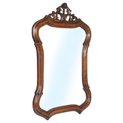 1920s Venetian Wall Mirror Hand Carved & Shaped Walnut, Wax Polished