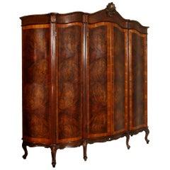 1920s Venetian Baroque Wardrobe Carved Walnut, Attributed Testolini & Salviati