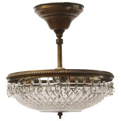 1920s Victorian Semi Flushmount Light Done in Cut Crystal and Brass
