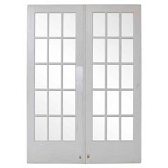 1920s Vintage 15 Lite White Double French Doors