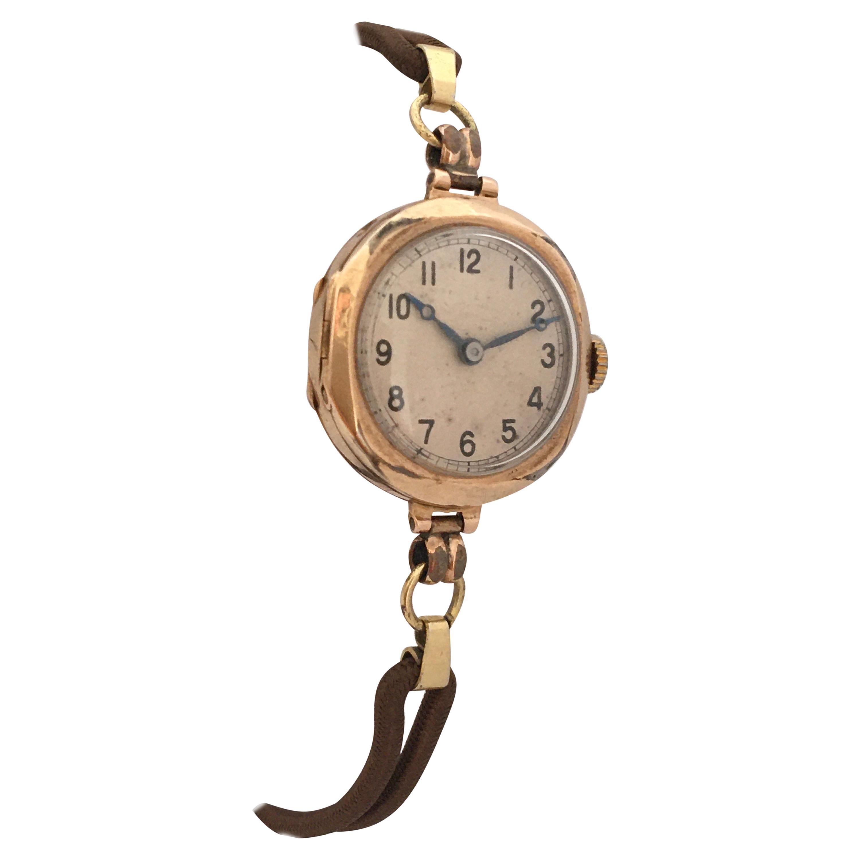 1920s Vintage 9 Karat Gold Manual Winding Ladies Trench Watch