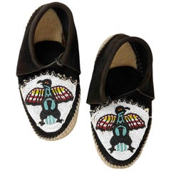 1920s Vintage Hand Beaded Native American Suede & Leather Moccasins