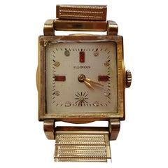 1920s Vintage Illinois Watch Square Case, 10 Karat Gold-Plated
