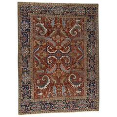 1920s Vintage Persian Heriz Rug All-Over Design Rust with Pile
