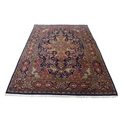 1920s Vintage Persian Kashan Rug Navy Blue, Mint Condition