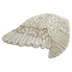 1920s Vintage - Sequinned Art Deco Cap / Hat - Front Hat Beading + Lace Lining