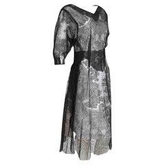 1920s Vintage Tea Dress - Black Floral Lace - V-Neck + Side Split Detail