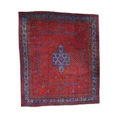 1920s Vintage Turkish Oushak Rug, Huge Square Vivid Red