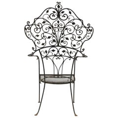 1920s Vintage Wrought Iron Garden Throne Chair