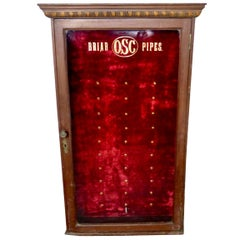1920s Wall-Mounted Pipe Display Case for Briar OSC Pipes