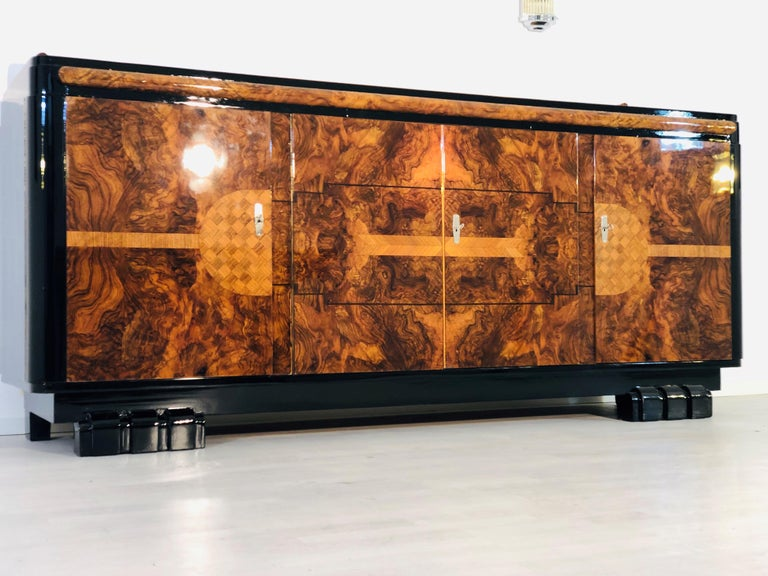 French 1920s Walnut Burl Art Deco Sideboard with Ornamentations, Limited Offer For Sale