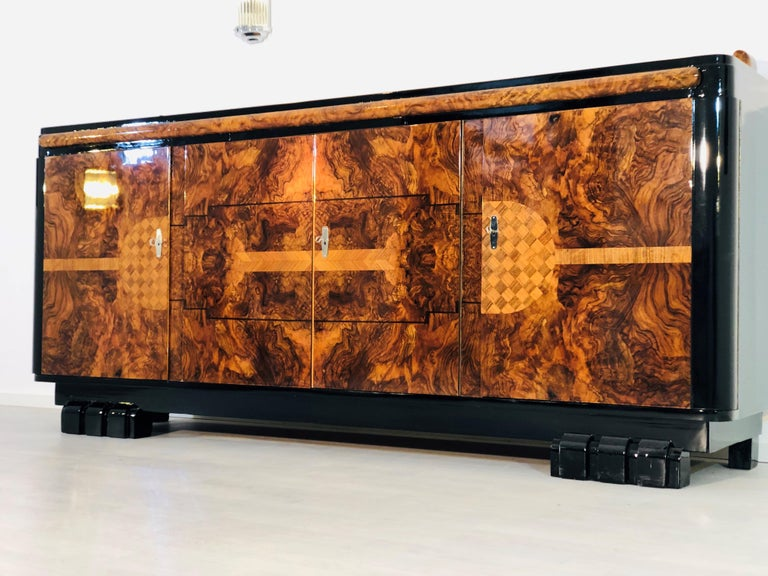 Hand-Crafted 1920s Walnut Burl Art Deco Sideboard with Ornamentations, Limited Offer For Sale