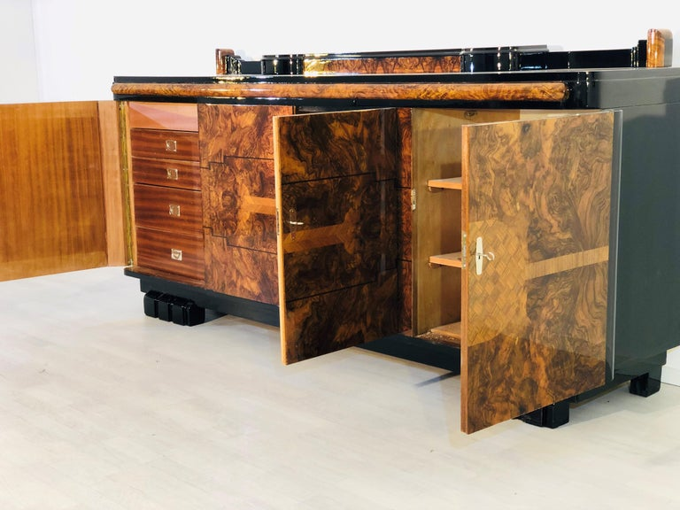 Early 20th Century 1920s Walnut Burl Art Deco Sideboard with Ornamentations, Limited Offer For Sale