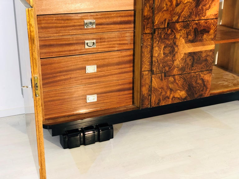 1920s Walnut Burl Art Deco Sideboard with Ornamentations, Limited Offer For Sale 3